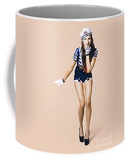 Retro Pinup Girl Blowing Travelling Departure Kiss Coffee Mug
