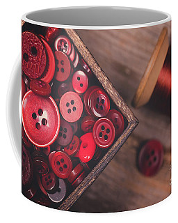 Retro Styled Red Buttons And Thread Coffee Mug
