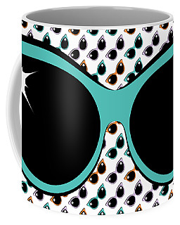 Retro Turquoise Cat Sunglasses Coffee Mug