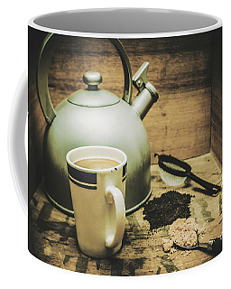 Retro Vintage Toned Tea Still Life In Crate Coffee Mug