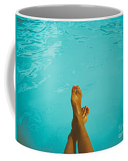 Retro Young Girl Relaxing Her Feet At Swimming Pool Coffee Mug