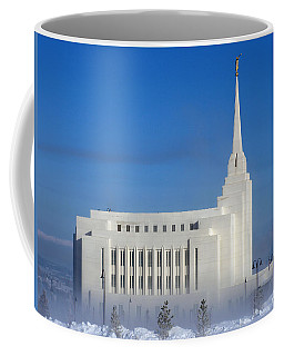 Coffee Mug featuring the photograph Rexburg Temple Rises Above The Mist by DeeLon Merritt
