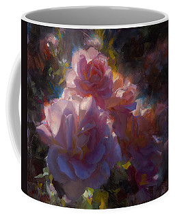 Coffee Mug featuring the painting Rhapsody Roses - Flowers In The Garden Painting by Karen Whitworth