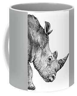 Coffee Mug featuring the drawing Rhino by Heidi Kriel