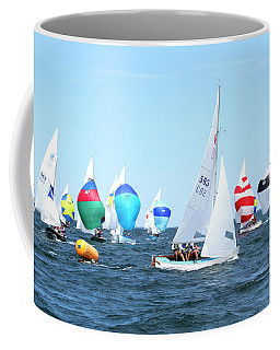 Coffee Mug featuring the photograph Rhodes Nationals Sailing Race Dennis Cape Cod by Charles Harden