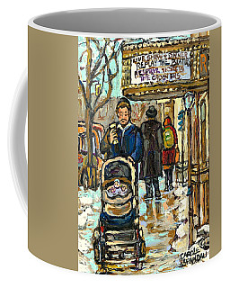 Coffee Mug featuring the painting Rialto Theatre Beatles Marquee Cell Phone Man Baby Carriage Winter  Park Ave Montreal Carole Spandau by Carole Spandau