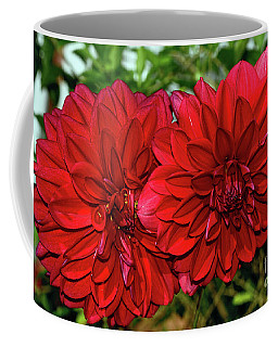 Coffee Mug featuring the photograph Rich Red Dahlias By Kaye Menner by Kaye Menner