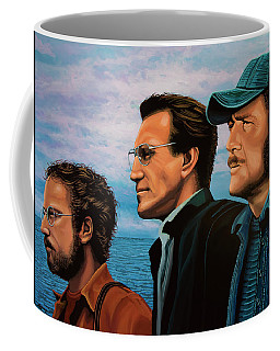 Jaws With Richard Dreyfuss, Roy Scheider And Robert Shaw Coffee Mug by Paul Meijering