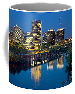 Coffee Mug featuring the photograph Richmond Skyline Helo Trail by Jemmy Archer