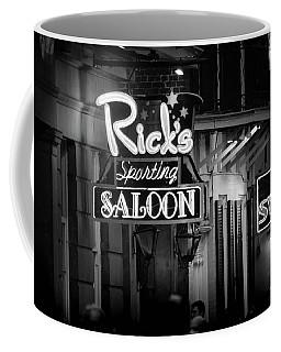 Ricks Sporting Saloon In Black And White Coffee Mug