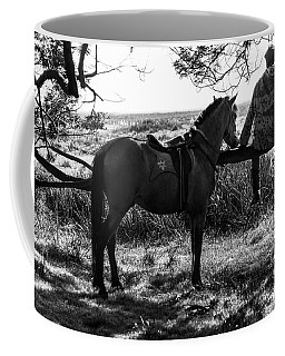 Coffee Mug featuring the photograph Rider And Horse Taking Break by Pradeep Raja Prints