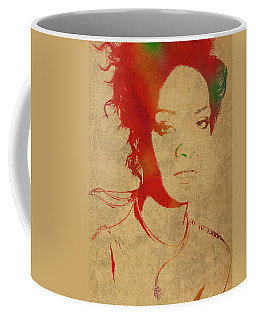 Rihanna Watercolor Portrait Coffee Mug