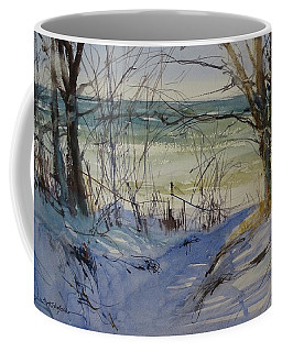 Coffee Mug featuring the painting Riley Beach December by Sandra Strohschein