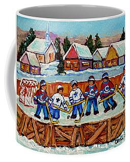 Rink Hockey Game In The Country Winter Village Snowscene Canadian Landscape C Spandau Quebec Artist  Coffee Mug