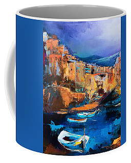 Coffee Mug featuring the painting Riomaggiore - Cinque Terre by Elise Palmigiani