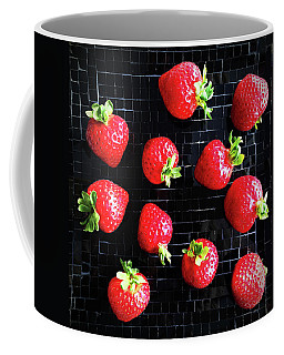 Ripe Strawberries On Back Plate Coffee Mug by GoodMood Art