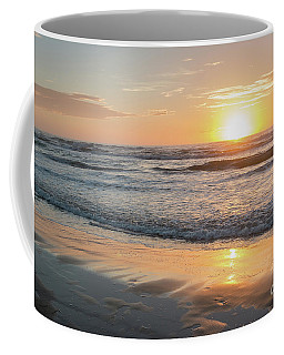 Rising Sun Reflecting On Wet Sand With Calm Ocean Waves In The B Coffee Mug