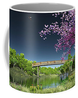 River Bridge Cherry Tree Blosson Coffee Mug by Walter Colvin