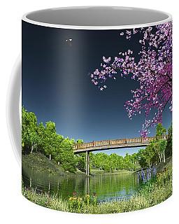 Coffee Mug featuring the digital art River Bridge Cherry Tree Blosson by Walter Colvin