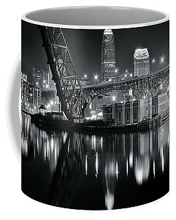 Coffee Mug featuring the photograph River Lights In Black And White by Frozen in Time Fine Art Photography