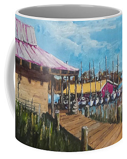 Coffee Mug featuring the painting River Marina by Jim Phillips