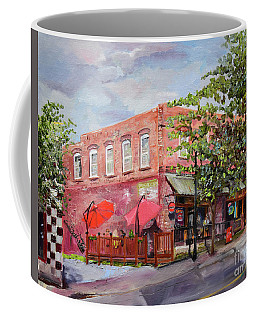 Coffee Mug featuring the painting River Street Tavern-ellijay, Ga - Cheers by Jan Dappen