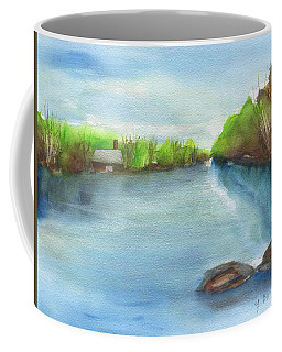 Coffee Mug featuring the painting River Wide by Frank Bright