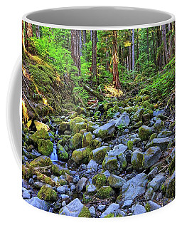 Riverbed Full Of Mossy Stones With Small Cascade Coffee Mug