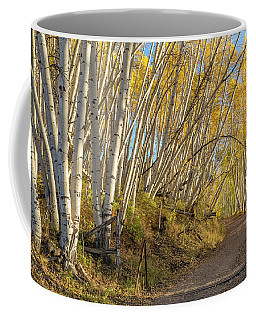 Road With Leaning Aspens Coffee Mug