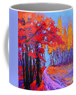 Coffee Mug featuring the painting Road Within - Enchanted Forest Series - Modern Impressionist Landscape Painting - Palette Knife by Patricia Awapara