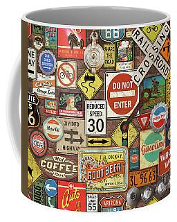 Roads Signs On Brick-jp3957 Coffee Mug