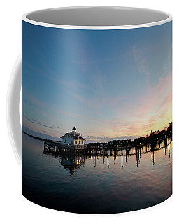 Coffee Mug featuring the photograph Roanoke Marshes Lighthouse At Dusk by David Sutton