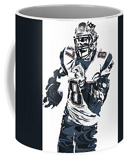 Rob Gronkowski New England Patriots Pixel Art 5 Coffee Mug by Joe Hamilton