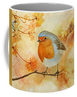Robin Among Flowers Coffee Mug