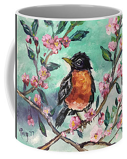 Robin In A Budding Cherry Tree Coffee Mug