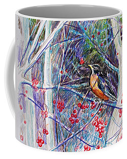 Coffee Mug featuring the drawing Robin In The Crab Apple Trees Sketch by Joy Nichols