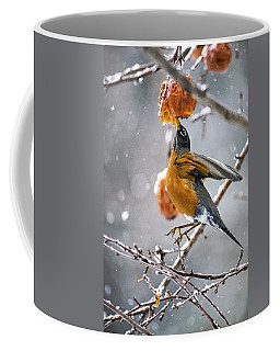 Coffee Mug featuring the photograph Robin Is Hanging In There by Marty Saccone