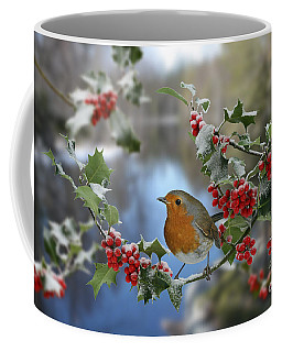 Robin On Holly Branch Coffee Mug