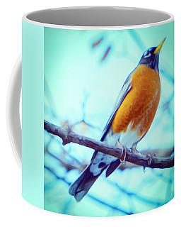Robin Red Breast In Winter - Impressionism Coffee Mug
