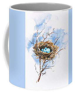 Coffee Mug featuring the painting Robin's Nest by Sam Sidders