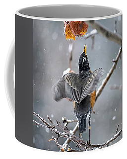 Coffee Mug featuring the photograph Robins Portrait Pose by Marty Saccone