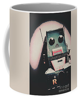 Robotic Mech Under Vintage Spotlight Coffee Mug