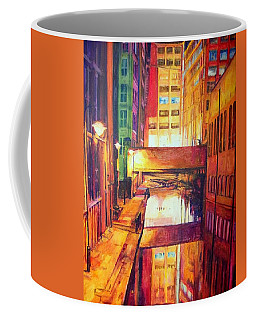 Rochdale Canal With Lock At Night Coffee Mug