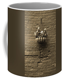 Coffee Mug featuring the photograph Rochester, New York - Wall And Flowers Sepia by Frank Romeo