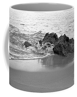Rock And Waves In Albandeira Beach. Monochrome Coffee Mug by Angelo DeVal