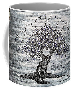 Coffee Mug featuring the drawing Rockies Love Tree by Aaron Bombalicki