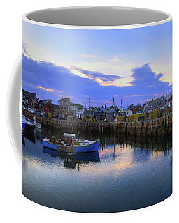 Coffee Mug featuring the photograph Rockport Harbor Sunset Panoramic With Motif No1 by Joann Vitali