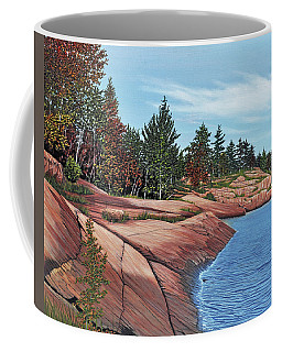 Coffee Mug featuring the painting Rocky River Shore by Kenneth M Kirsch