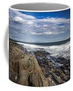 Rocky Shore Line Two Lights Maine  Coffee Mug by Debra Forand