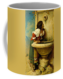 Coffee Mug featuring the painting Roman Girl At A Fountain by Leon Bonnat